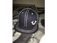 True Religion flat peak denim style hat, snap back one size