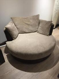 3 seater sofa & 2 large swivel chairs