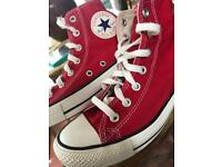 Red high top converse size 5