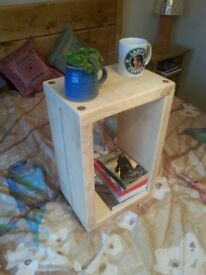 side table coffee rustic chunky wood bed solid sleeper cube lamp cabinet (handmade) - clear colour