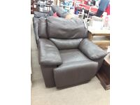 Brown Leather Electric Recliner Armchair