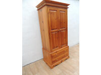 Tall Pine wardrobe with 2 drawers dovetail joints (Delivery)