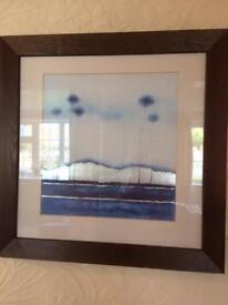 Blue prints with silver accents by Richard Bennett Dark wood frame A pair