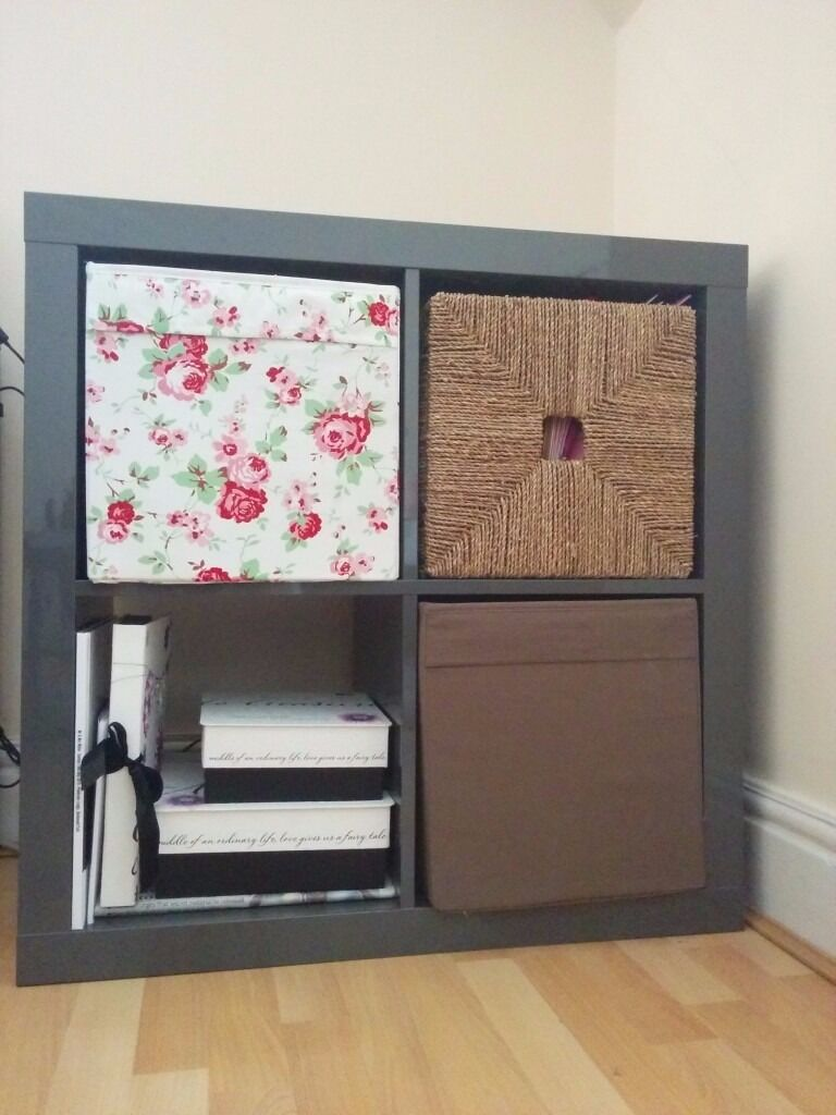1 x ikea kallax grey storage unit 2x2 in east london london gumtree. Black Bedroom Furniture Sets. Home Design Ideas