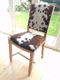 Art Deco oak and cowhide chair