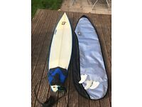 "6""8 Surf Board, Bag, Leash and Fins"