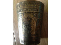 Antique Indian brass beaker wonderfully decorated c1880