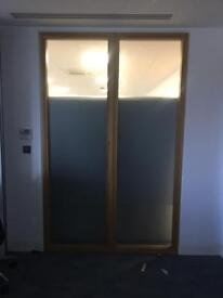 Vision glass panel and frame