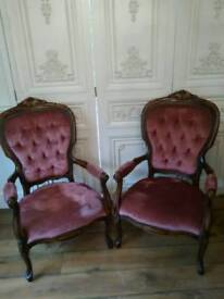 Pair of pink french chairs absolutely beautiful