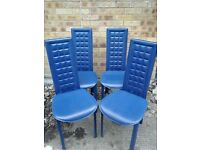 Set of 4 blue dinning chairs
