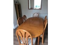 6ft pine Dining room table & 6 chairs.