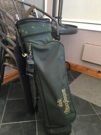 Macgregor Golf Bag, Golf balls and Mizuno 3&7 woods + 9 iron + junior 7 + 2 putters