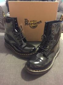 Genuine Dr Marten black patent boots ladies UK8
