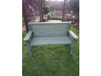 Wooden green garden bench handmade new