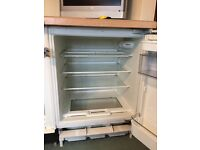 Integrated fridge and freezer in beech cabinet