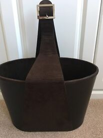 Excellent Condition - Brown Faux Leather and Suede Magazine Holder