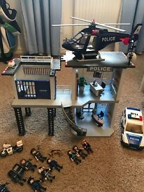 Playmobil Police Station, Helicopter, Car & Figures