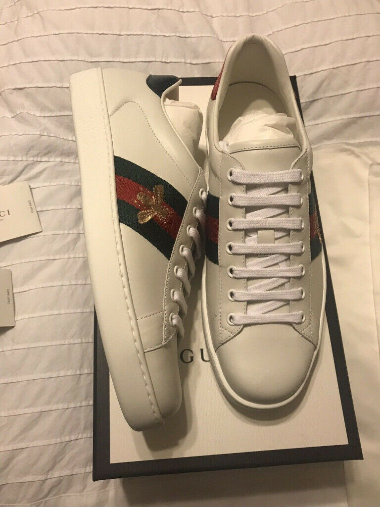 d9cea625381 White Gucci Ace Bee Shoes Size 8