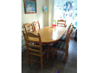 Extendable Dining Table Set, 6 chairs, FREE