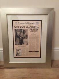 Framed London Herald Print, dated 12th February 1990, Nelson Mandela Free headline