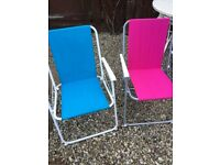 Pink and Blue children's deck chairs