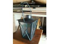 Tin plate and glass candle lantern holder