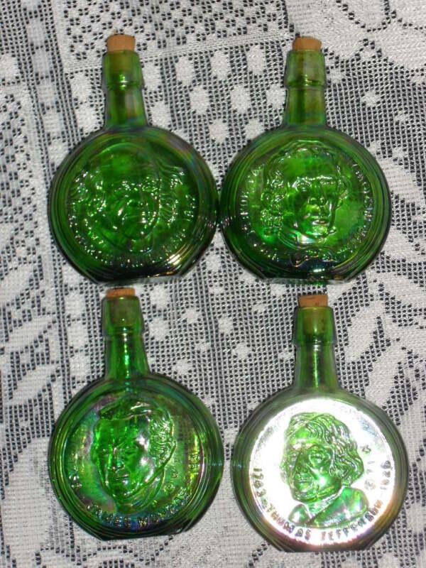 Lot of 4 Green Iridescent GLASS WHEATON PRESIDENTIAL BOTTLES w/corks Presidents