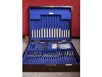 CANTEEN OF SILVER PLATED CUTLERY in Mahogany Presentation box - 49 pieces all perfect condition