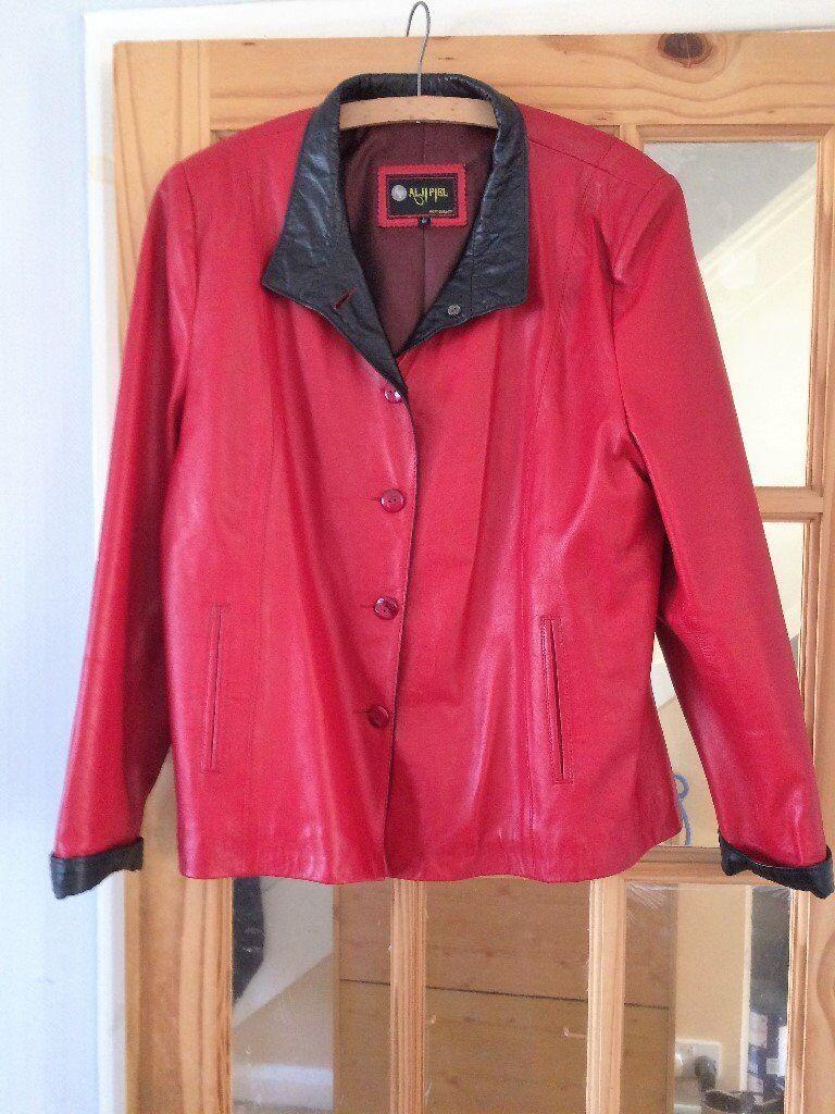Leather jacket size 18 - Ladies Red Leather Jacket Size 18 20