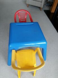 ELC Blue Table and 2 Chairs