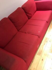 Red 4 seater sofa