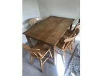Dining table with 4x chairs wooden
