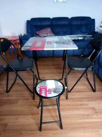 Foldable table chairs and stool