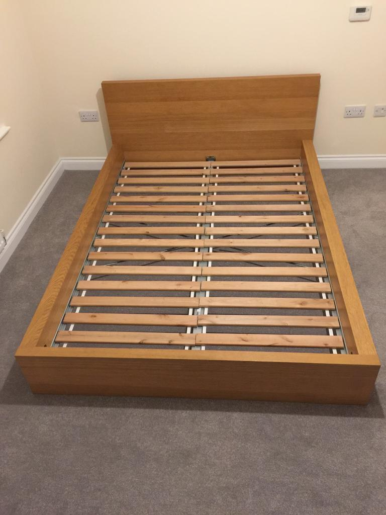 Ikea malm double bed frame low oak in darlington county for Ikea malm bed low