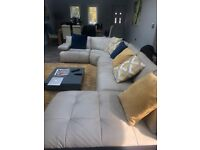 Leather corner sofa with chaise and storage unit