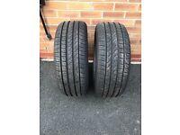 2 x Part Worn Pirelli Run Flat Tyres