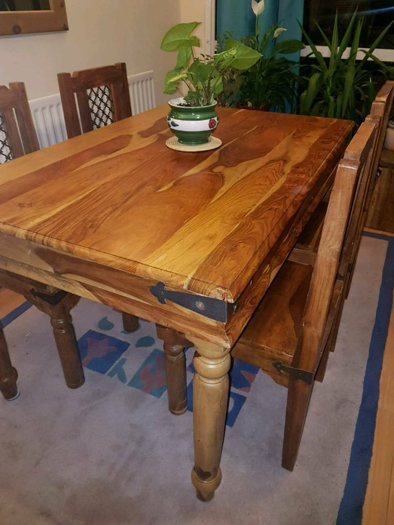 Wood Table And Chairs Indian Or Jail Style In Sutton Coldfield West Midlands Gumtree