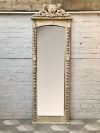 Vintage Full Length Mirror White Wood Frame French #651