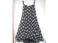 VINTAGE 50S 60S POLKA DOT SPOTTY DRESS SIZE 18 20 22 BLACK WHITE