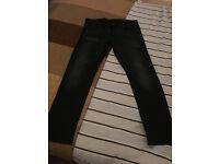 Men's Jack Jones Original Slim Fit Black Jeans with Fading, Rip and Repair and Detailing 36R