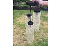 VINTAGE RETRO MID CENTURY 60s 70s LIGHT FITTING BLACK 3 LONG CLEAR GLASS SHADES