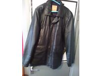 AS NEW NEXT S/ LRG BLACK LEATHER GENTS NEXT JACKET COST £190 BARGAIN AT £45