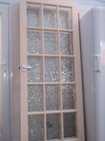 GLASS PANELLED INTERNAL DOORS, sold as a pair. 203x813cm / 79x32inches
