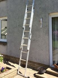 Combination ladder. Three section, converts to ladder or steps, maximum height approx. 4.5 metres