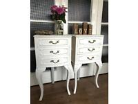 Pair bedside tables free delivery Ldn🇬🇧French vintage style shabby chic