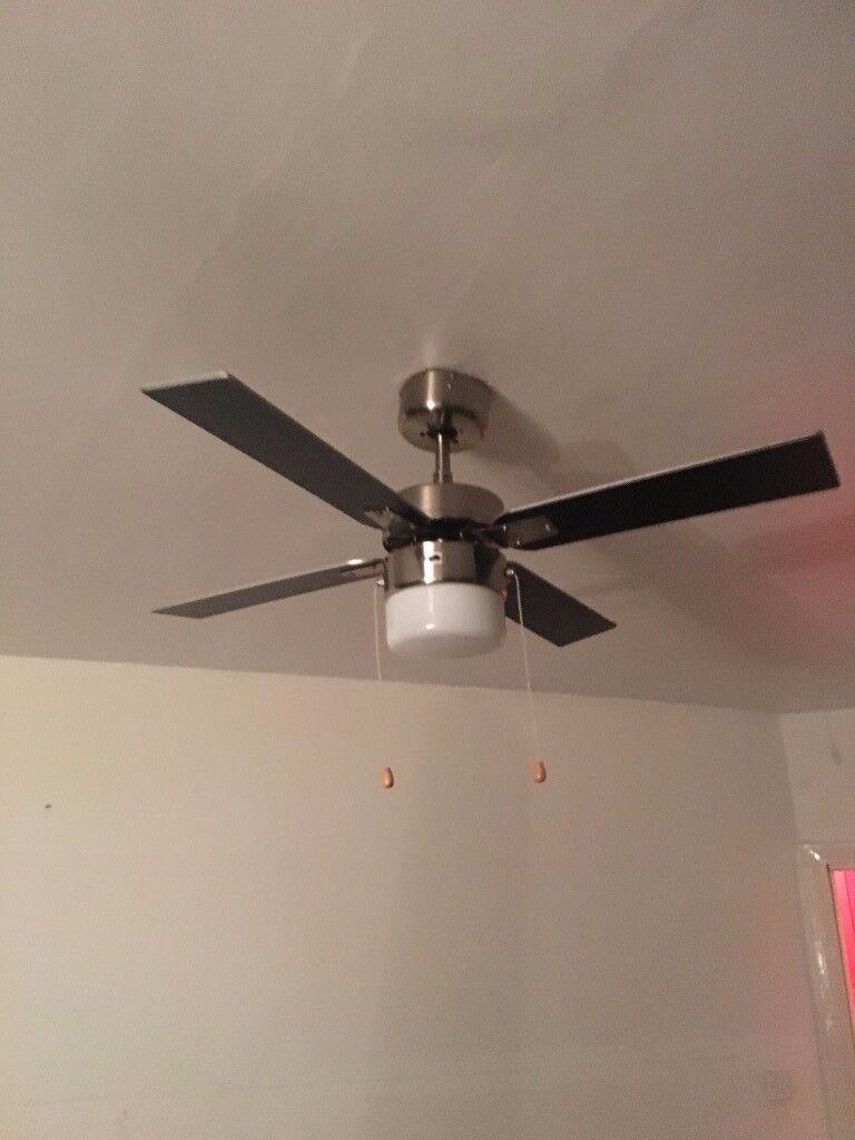 San Antonio Black Brushed Chrome Effect Ceiling Fan Ligh
