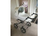 Baby style pram with pram top and car seat blue lining