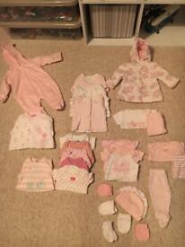 Bundle of baby girl clothes new born, up to one month