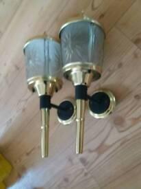 A pair of vintage coach lamps lights lanterns