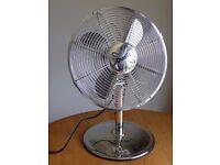 "Dualit Oscillating 12"" Chrome Desk Fan - 3 Speeds - Tilts"